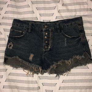 Free People button fly shorts